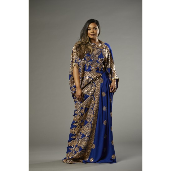SAREE DRESS (ROYALBLUE)